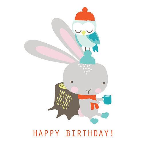 Bunny and Owl say Happy Birthday