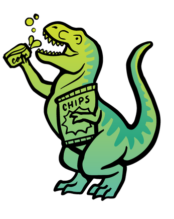 Dinosaur eating chips and cola