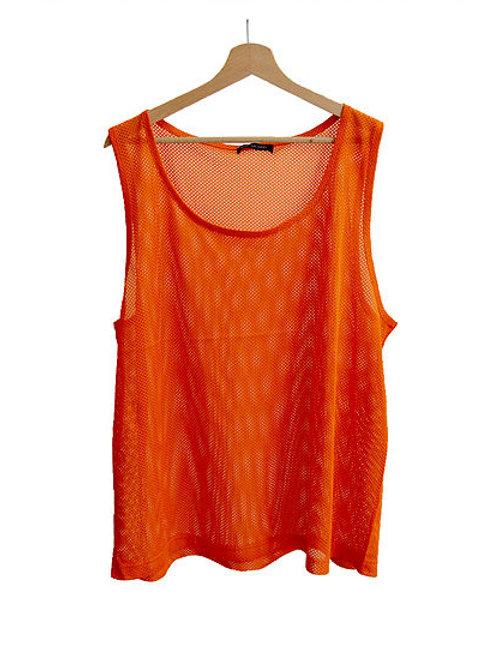 Orange mesh tank top