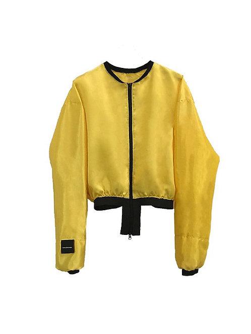 HIGH WAIST BOMBER JACKER gold/yellow