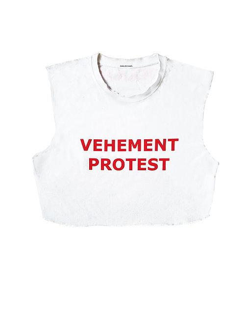VEHEMENT PROTEST rough croptop white