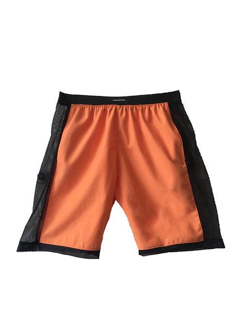 orange techno shorts