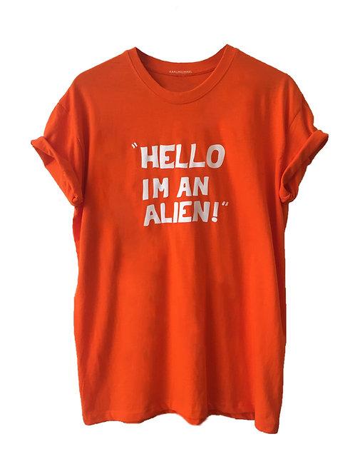 HELLO I'M AN ALIEN T-Shirt orange