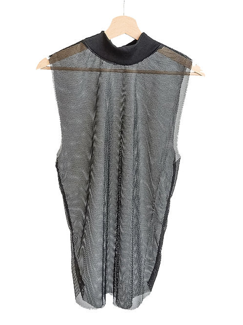 Turtleneck mesh tank top