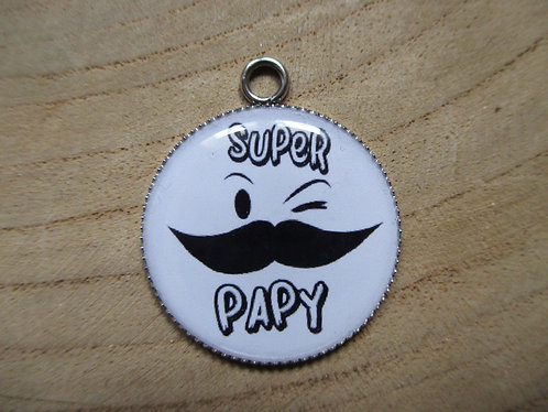 """Médaillons """"Super Papy"""" (avec porte clé au choix)"""