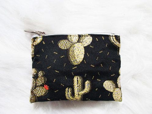 Porte Monnaie Jacqard Cactus Noir/doré