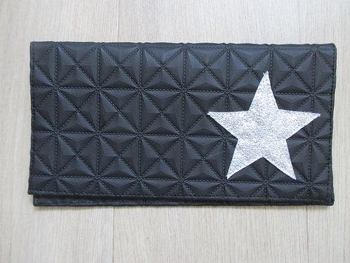 Porte chèquier Noir relief mat