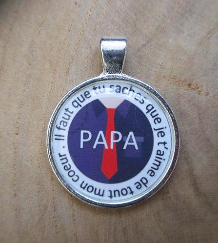 """Médaillons """"Papa"""" (avec porte clé au choix)"""