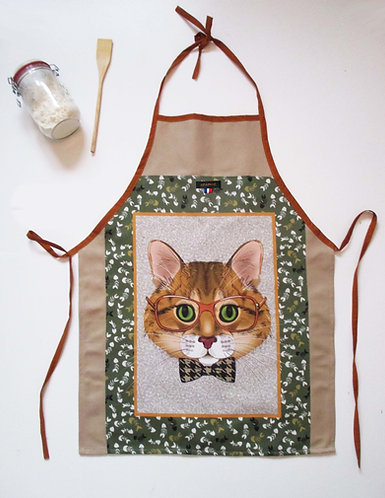 """TABLIER """"Chat roux"""""""