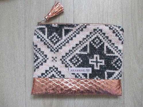Pochette  Tissu lainage à motifs géométrique/Simili cuivré