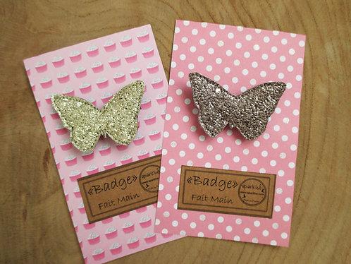 """Badge """"Papillons"""" Paillette A-D-R-R"""