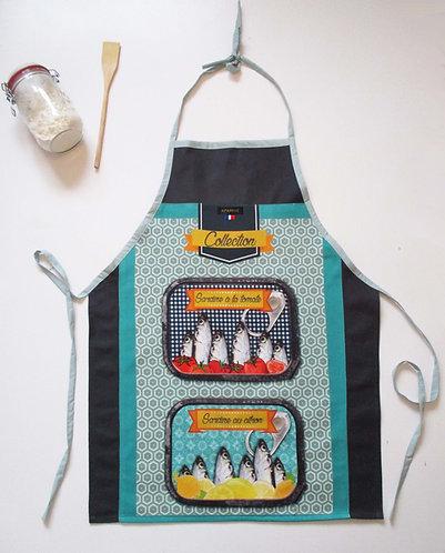 "TABLIER ""Sardines fond gris"""