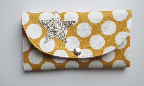 Portefeuille ocre à pois blanc (étoile doré)