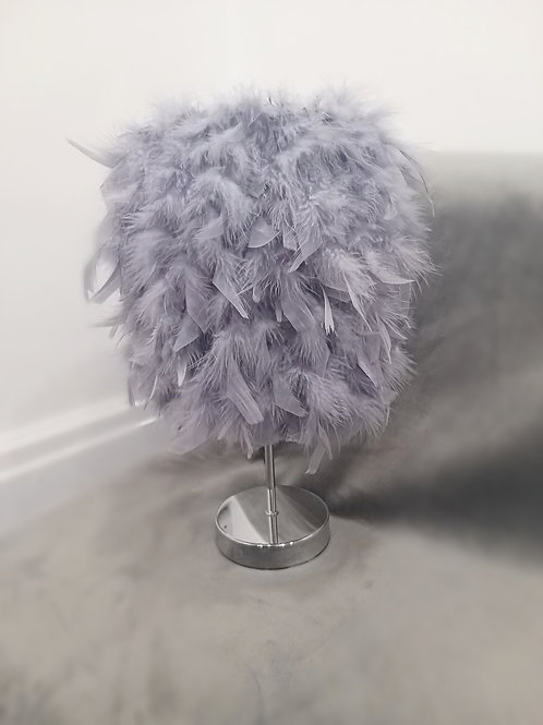Grey Luxury Feather Table Lamp