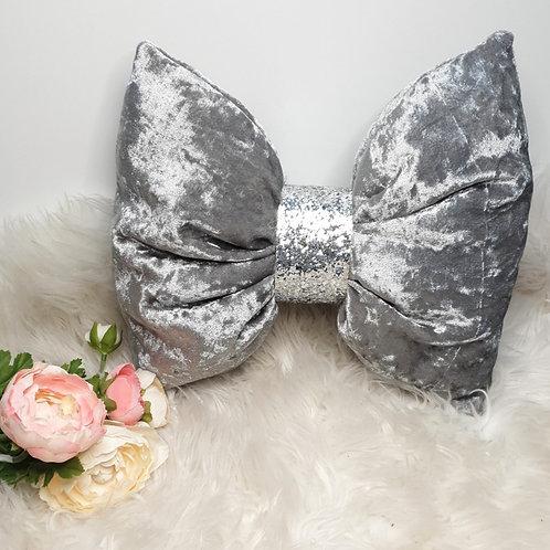 Grey Crushed Velvet Bow Cushion