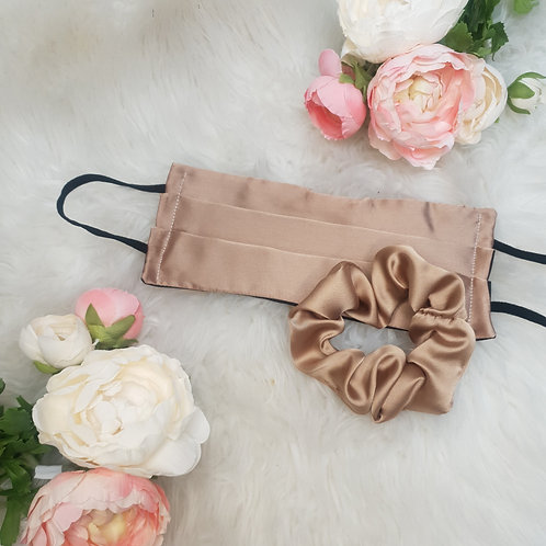 Nude Duchess Satin Face Mask and Scrunchie Set