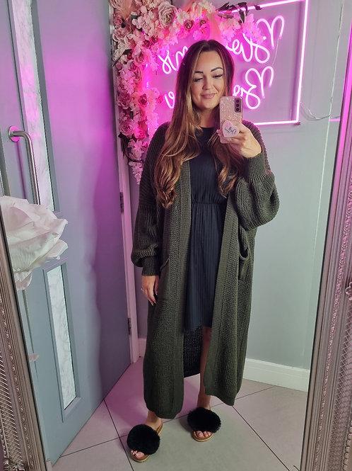 Danielle Khaki Bell Sleeve Long Knitted Cardigan