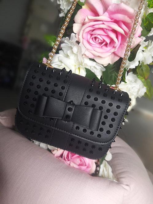 Studded Bow Bag - Black