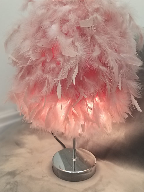Blush Pink Luxury Feather Table Lamp