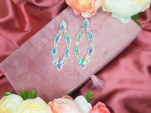 Large Crystal Oval Drop Earrings