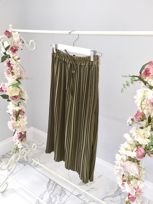 Khaki Felicity Pleated Midi Skirt