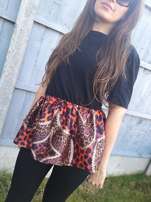 Aurora Black Tshirt with Silk Frill