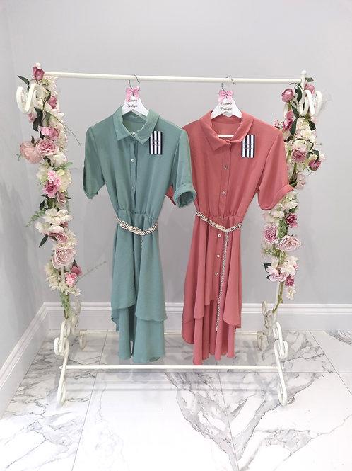 Megan Shirt Dress with Detachable Belt - Various Colours