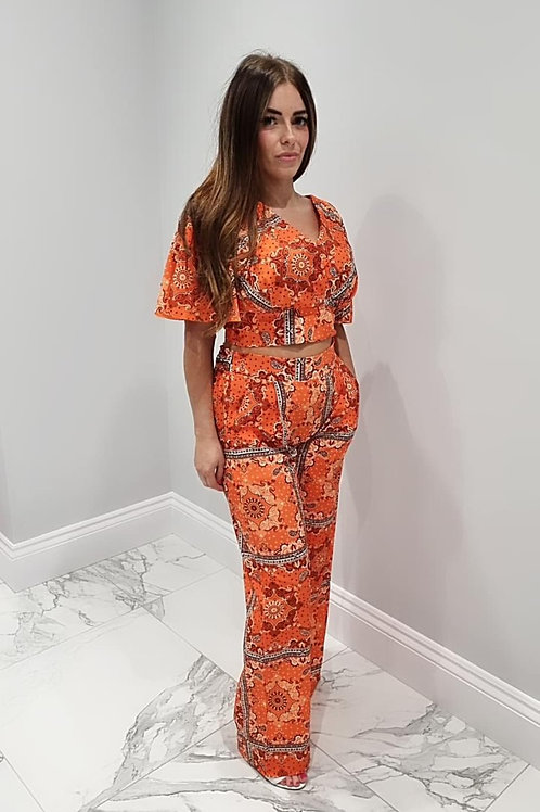 Rose Orange Crop Top with Flare Pants Co-ord