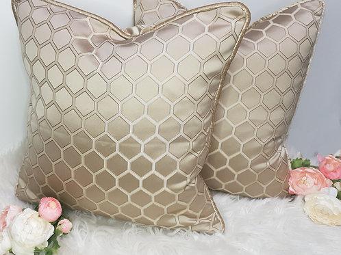 Set of 2 Satin Gold Hexagon Cushion Covers