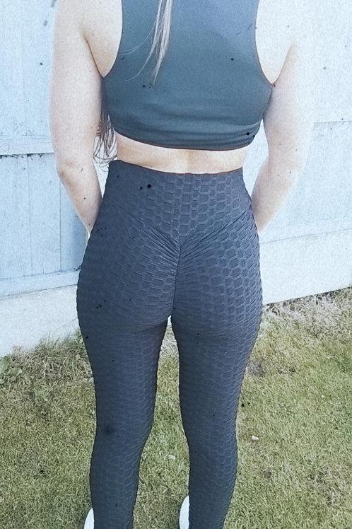 Black Abbie Anti-cellulite Leggings (Ruche bum)
