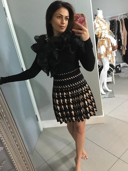 Caitlyn Pleated Knit Dogtooth Skirt