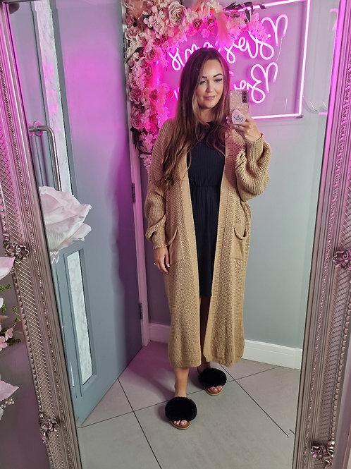 Danielle Beige Bell Sleeve Long Knitted Cardigan