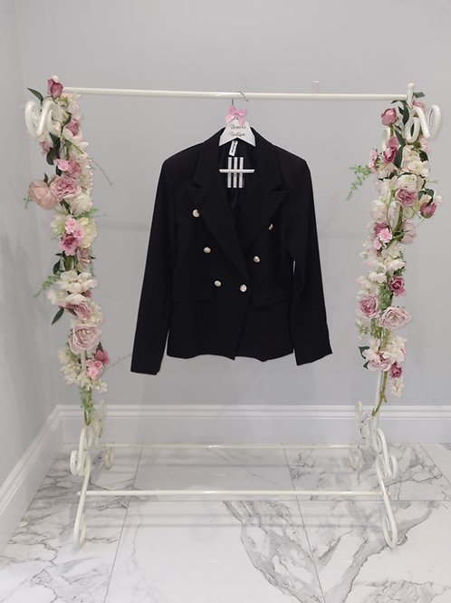 Black Polly Blazer with Gold Buttons