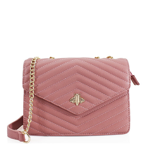 Blush Pink Bee Design Crossbody Bag