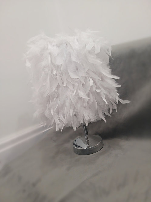 White Luxury Feather Table Lamp