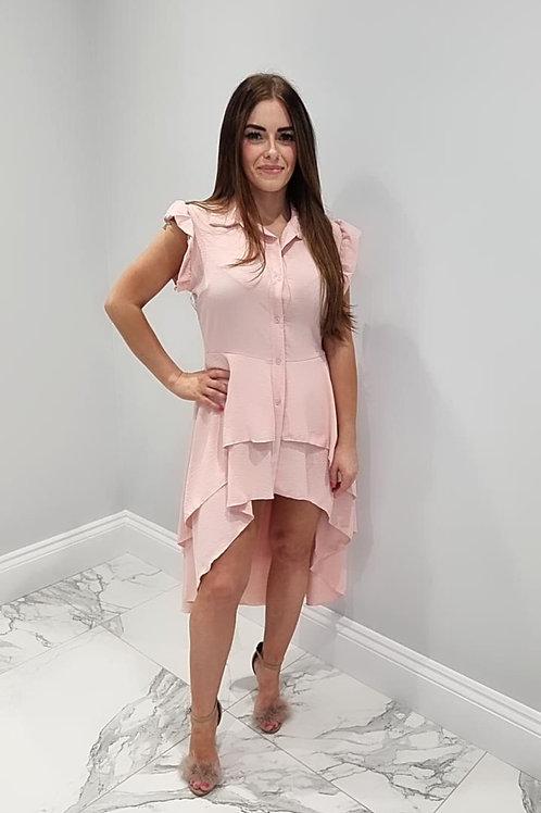 Sophie Pink Oversized Dip Hem Shirt