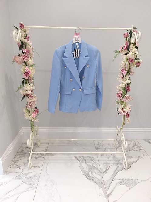 Pastel Blue Polly Blazer with Gold Buttons