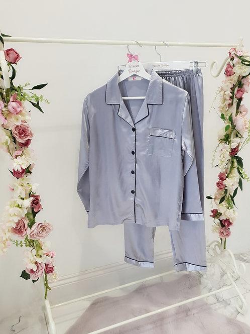 Belle Satin Silver Grey Pyjamas