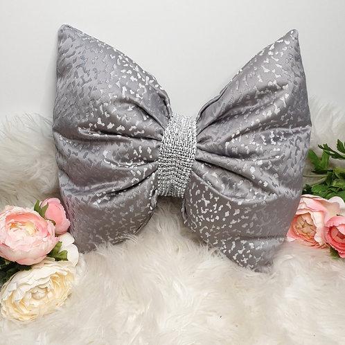 Grey Leopard Satin Bow Cushion