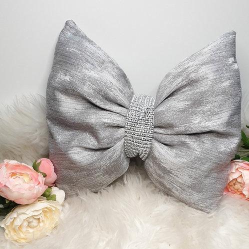Grey Detailed Bow Cushion