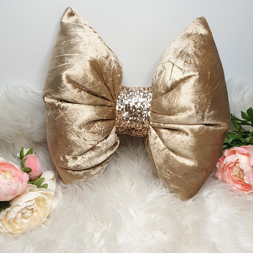 Gold Crushed Velvet Bow Cushion