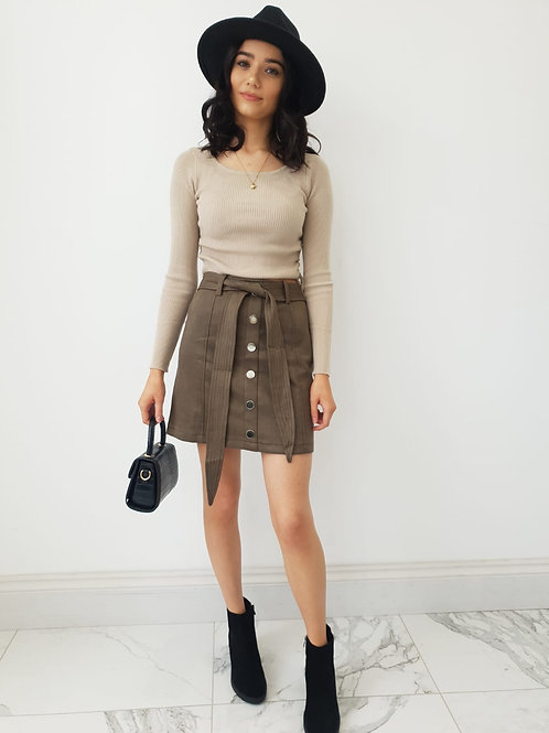 Khloe Suede Effect Button Detailing Skirt