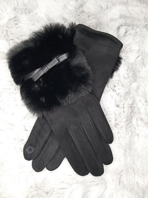 Luxury Suede Gloves with Faux Fur and Bow