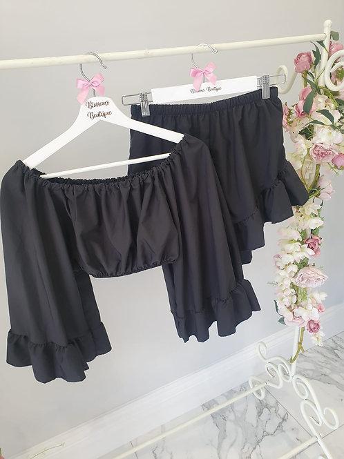 Cindy Bardot Top & Frill Shorts Set
