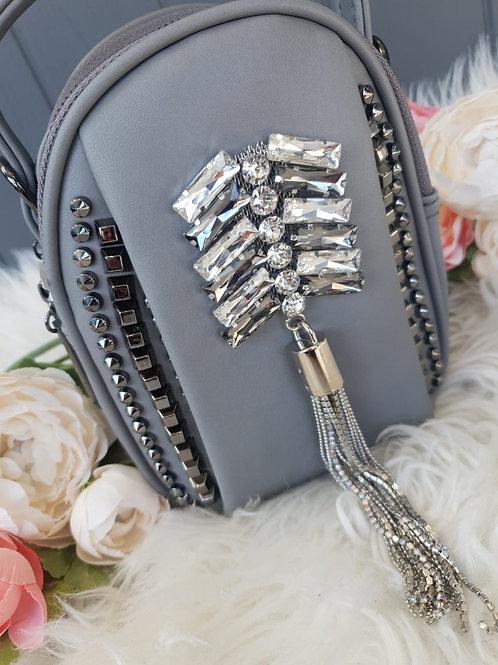 Grey Embellished Tote/Crossbody Bag