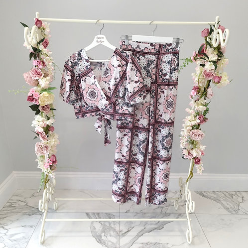 Rose White Pink Crop Top with Flare Pants Co-ord