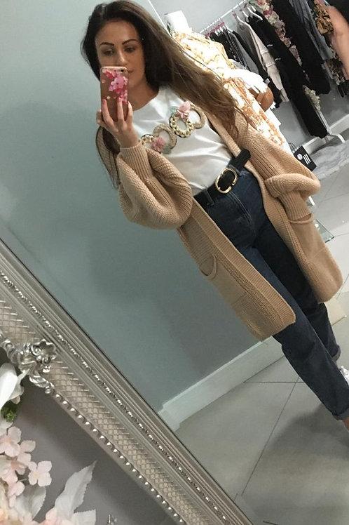 Danielle Oatmeal Bell Sleeve Long Knitted Cardigan