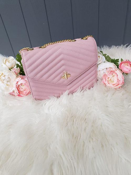 Pale Pink Bee Design Crossbody Bag