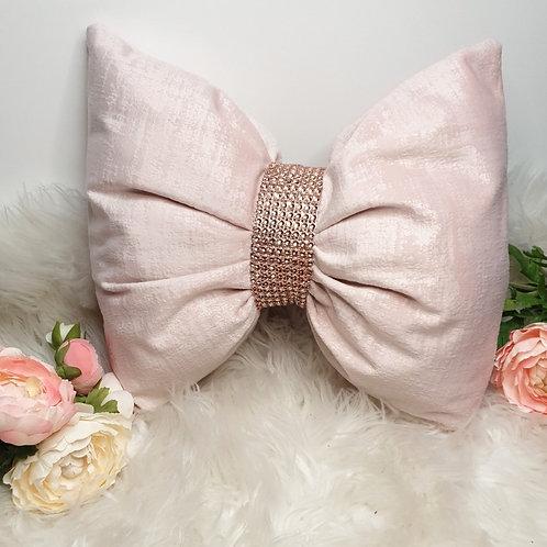 Blush Pink Plush Velvet Textured Bow Cushion
