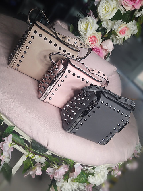 Studded Leather Effect Cross Body Bag